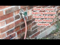 Outside Faucet Cover Freezing Weather by Outdoor Faucet Repair From Freezing Youtube