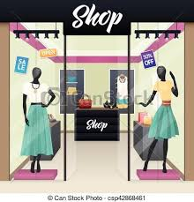 Women Fashion Shop Sale Window Display Vector
