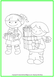 Children With Christmas Presents Colouring Page