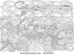 Lighthouse And Shells Seascape Coloring Book Page For Adult A4 Size Waves