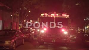 100 Fire Truck Sirens Truck With Flashing Siren Lights Standing In The City At Night