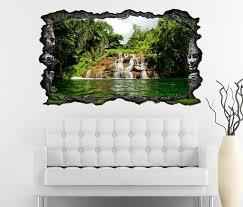 3d wandtattoo wasserfall wasser palmen palme baum landschaft wald selbstklebend wandbild wandsticker wohnzimmer wand aufkleber 11o1236