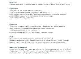 Cosmetology Resume Objectives Hair Stylist Objective Of A Cosmetologist Sample Part