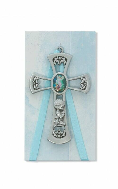 McVan 3-3/4 inch Guardian Angel Boy Blue Cross/Ribbon