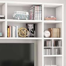 wohnzimmer tv regalwand in weiß oristano