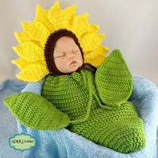 Crochet Newborn Sunflower Bonnet Hat With Cocoon Photo Prop Pattern
