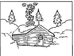 Log Cabin Coloring Pages Sketch Page
