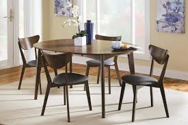 Mid Century Modern Table Set Dark Brown Wooden Chair Round White Classic Gloss Black Stained
