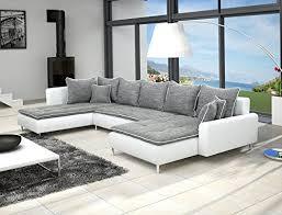 canapé d angle panoramique 7 places alia gris et blanc fr