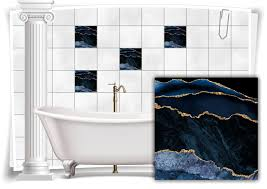 fliesen aufkleber folie marmor öl ölfarben abstrakt schwarz blau gold bad wc deko küche