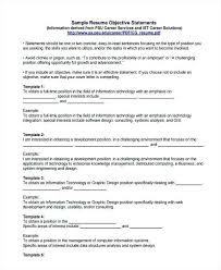 Sample Objective Resume Job Examples Statements For Fresh Graduate