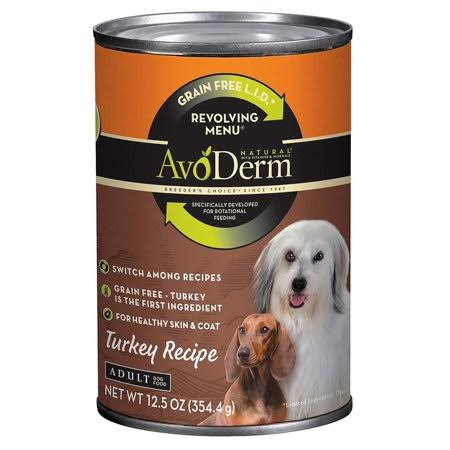 AvoDerm Revolving Menu Lid Grain Free Turkey Recipe Adult Canned Dog Food - 12.5 oz, Case of 12