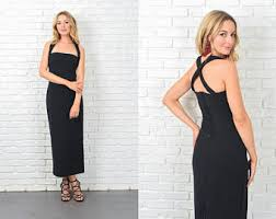 Vintage 90s Black Dress Maxi Retro Cocktail Party 10907
