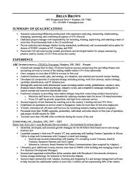 Resume Summary For Freshers Example