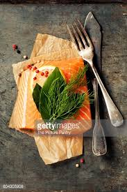 Raw Salmon Fillet And Ingredients For Cooking In A Rustic Style Top View Stock