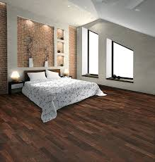 DecorationsBreathtaking Bedroom Design With Brick Stone Wall And Floral Bed Cover Also Hardwood Laminate