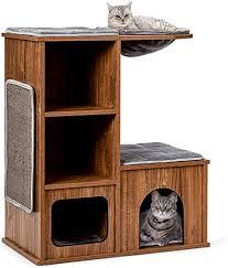 costway katzenmöbel mit höhle matten katzen spielhaus holz