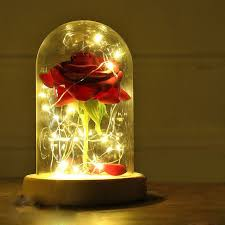 Beauty And The Beast Inspired Light Up Enchanted Rose In Glass Dome Centrepiece