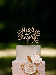 Custom Cake Topper Rustic Wedding Mr Mrs Last Name Personalized Monogram Gold Silver