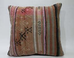 Embroider Cushion Cover 18x18 Brown Pillow Pink Kilim Chair Turkey Pouf