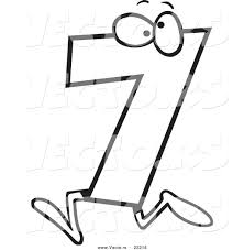 Vector Of A Cartoon Number Seven 7 Character