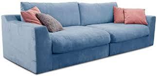 cavadore big sofa fiona große inkl rückenkissen im modernen design 274x90x112 webstoff hellblau