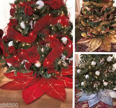 Image Is Loading Poinsettia Christmas Tree Skirt IN STOCK Red Silver
