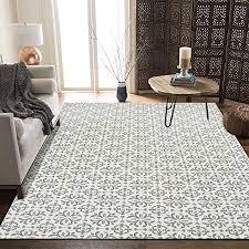 shacos baumwollteppich grau groß 90x150 cm wohnzimmer teppich grün groß teppich waschbar gewebt baumwolle retro vintage teppiche für wohnzimmer