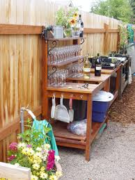 plant stand products wood potting bench with recessed storage