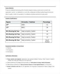 Resume Format Bsc Nursing Fresher Plus Impressive Sample For Also