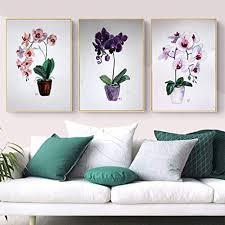 moderne aquarell orchidee blume leinbilder blumen wandbilder