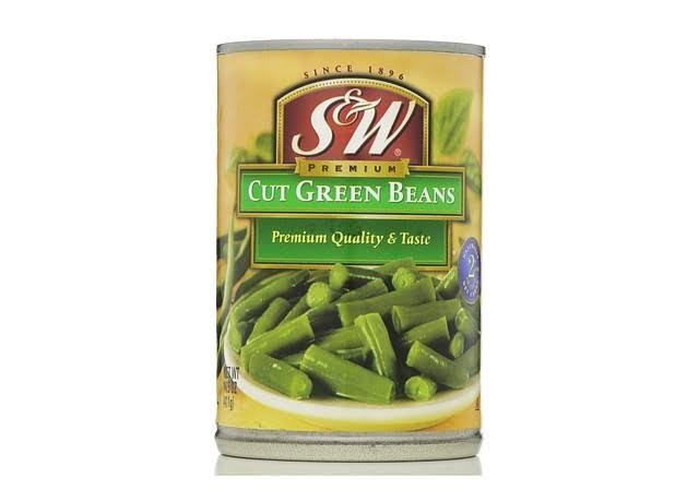 S & W Green Beans, Premium, Cut - 14.5 oz