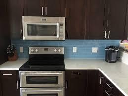 Glass Backsplash Ideas With White Cabinets by Sky Blue Glass Subway Tile Kitchen Backsplash With Dark Cabinets