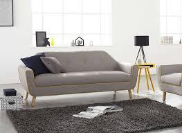canapé 3 places en tissu gris et jaune copenhague achatdesign