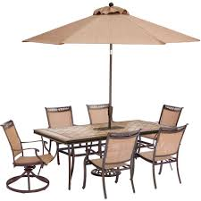 hanover fontana 7 aluminum rectangular outdoor dining set