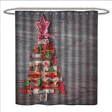 Homehot Christmas Shower Curtains 3D Digital Printing Abstract Cloth Style Tree Concept With Buttons Star Topper Wooden Backdrop Custom Made