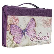 Bible Cover Butterfly Blessed Purple Jeremiah 17 7 Large