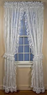 Priscilla Curtains With Attached Valance by Beverly White Lace Ruffled Priscilla Window Curtains With Attached
