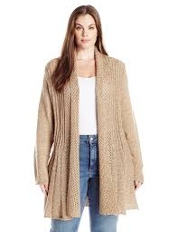 women u0027s plus size marled long sleeve opent front multi stitch