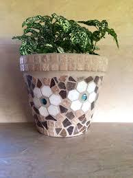 Mosaic Flower Pot Large Rustic Planter Outdoor Patio Indoor Herb