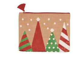 Tan Christmas Tree Sequin Jute Carry All Case