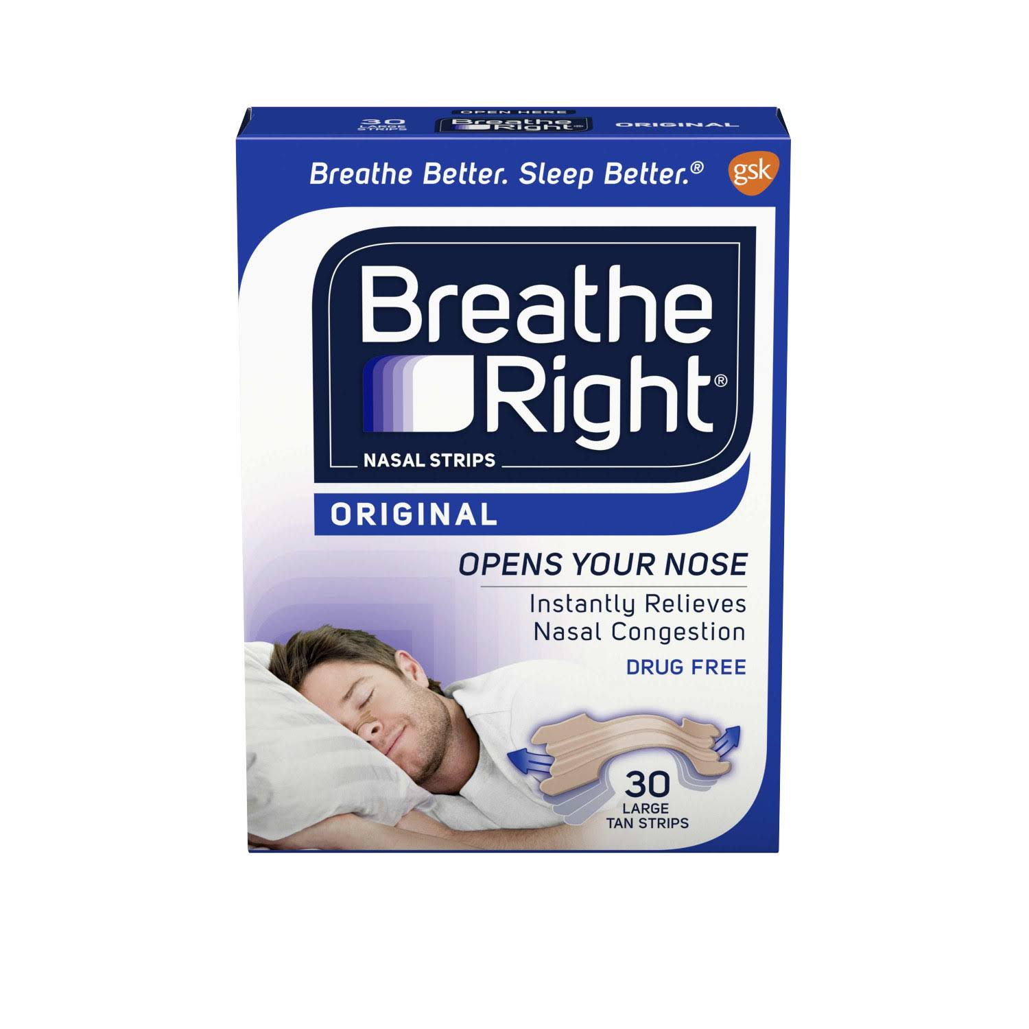 GSK Breathe Right Tan Nasal Strips - Original, Large, x30