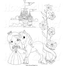 Clip Art of a Black and White Princess and Pony by a Castle