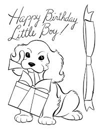 A Dog And Happy Birthday Present Coloring Page