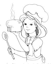 Girl baking clipart black and white