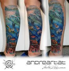 Realistic Calf Sea Dolphin Tattoo By Andreart
