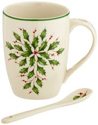 Spode Christmas Tree Mugs With Spoons by Amazon Com Lenox Holiday Cocoa Mugs With Spoons Ivory Set Of 2