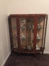 Vintage Walnut Curio Cabinet English 1940s Vintage Curio