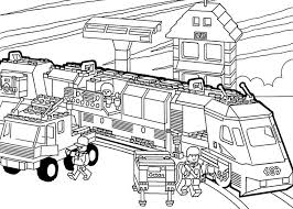 Train Coloring Pages Lego Station