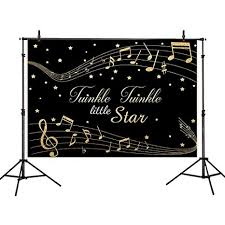 Allenjoy 7x5ft Vinyl Childrens Photography Backdrop Golden Music Twinkle Little Star Background For Family Birthday